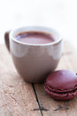 Hot chocolate and macaroon Stock Photos