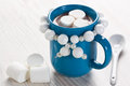Hot chocolate with marshmallow in blue mug for winter drink Stock Photos