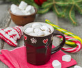Hot Chocolate With Marshmallow in Christmas decorations. Selecti Royalty Free Stock Photo
