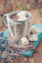 Hot chocolate and marshmallows in a blue mug Royalty Free Stock Images