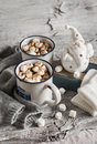 Hot chocolate with marshmallows, ceramic Santa Claus, old book and gloves Royalty Free Stock Photo