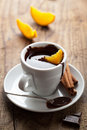 Hot chocolate with orange and cinnamon Stock Photo