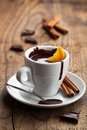 Hot chocolate with orange and cinnamon slice Stock Images
