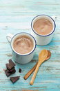 Hot chocolate two cups of Royalty Free Stock Photos