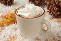 Hot chocolate and whipped cream a cup of in the snow with Stock Photo