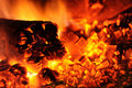 Hot coals and fire Royalty Free Stock Photo