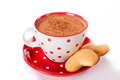 Hot cocoa and cookies cup of heart shape isolated on white background Stock Photos