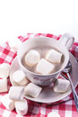 Hot cocoa and marshmallows in big cup