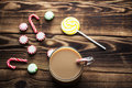 Hot cocoa mint candy holiday Royalty Free Stock Photo