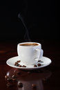 Hot coffee cup of fragrant on a wooden table Royalty Free Stock Photo
