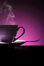Hot coffee cup with spoon on purple background collection Stock Photo