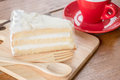 Hot coffee cup and young coconut cake stock photo Stock Photography