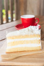 Hot coffee cup and young coconut cake stock photo Stock Photo