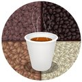 Hot coffee in disposable cup on coffee beans background time a of takeaway a with beautiful roasted Royalty Free Stock Photos