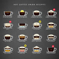Hot Coffee drinks recipes icons set. Royalty Free Stock Photo