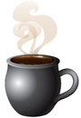 Hot coffee hot chocolate vector illustration of tea or mug steaming with smoke Royalty Free Stock Image