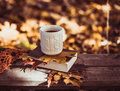 Hot coffee and red book with autumn leaves on wood background - seasonal relax concept Royalty Free Stock Photo