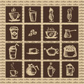 Hot coffee vector illustration of aromatic in brown tones Royalty Free Stock Images