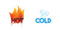 Hot and cold or fire and ice icons climate symbol icon Royalty Free Stock Photo