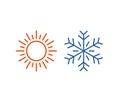 Hot and cold icon. Sun, snowflake symbol