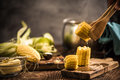Hot corn on the cob with butter Royalty Free Stock Photo