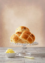 Hot Cross Buns With Butter Royalty Free Stock Photo