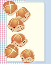 Hot cross buns an illustration of delicious freshly baked from the oven on a gingham background and space for text Royalty Free Stock Images