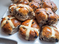 Hot cross buns on plate Royalty Free Stock Images
