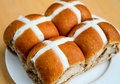 Hot cross buns sweet filled with cream and cheese Royalty Free Stock Image