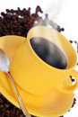 Hot cup of coffee with smoke Stock Photo