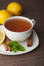 Hot cup of tea and fresh lemons top view Royalty Free Stock Images