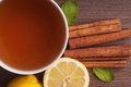 Hot cup of tea and fresh lemons top view Royalty Free Stock Photos