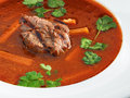 Hot delicious tomato soup with meat and rice served with leek coriander in a white bowl Stock Images