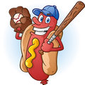 Hot dog baseball cartoon character a smiling player with a bat cap and catchers mit Stock Image