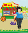 Hot dog booth stand in the city illustration Royalty Free Stock Image