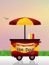 Hot dog cart illustration of Stock Photography