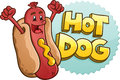 Hot dog cartoon character with emblem and illustrated lettering a cheerful celebrating his fists in the air standing in front of a Stock Photography