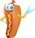 Hot dog cartoon character isolated Royalty Free Stock Photos