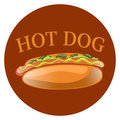 Hot Dog Cartoon Illustration. Classic american fast food - sausage with mustard in a bun.