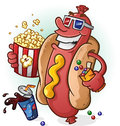 Hot dog cartoon at the movies a smiling character wearing d glasses and holding popcorn and candy Royalty Free Stock Photos