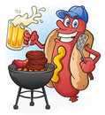 Hot dog cartoon tailgating with beer and bbq cartoon character a holding a spatula grilling burgers bratwursts at a tailgate party Royalty Free Stock Photos