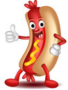 Hot dog cartoon thumbs up Stock Images