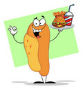 Hot dog character serving fast food on a tray Royalty Free Stock Photography