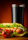 Hot dog and cola drink Royalty Free Stock Images