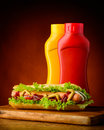 Hot dog con ketchup e senape Immagine Stock