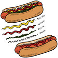 Hot dog with condiments sketch Stock Image