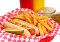 Hot dog with french fries Stock Images