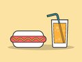 Hot dog and a glass of soda Royalty Free Stock Photo