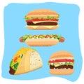 Hot Dog, Hamburgers and Tacos