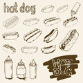 Hot Dog Hand Drawn Set